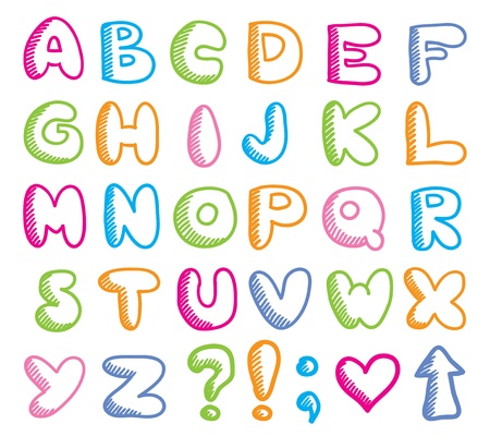 czcionki: Å›mieszne alfabet Ilustracja