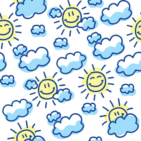 blue smiling: suns and clouds