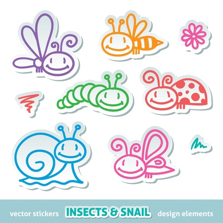 children caterpillar: hand drawn insects