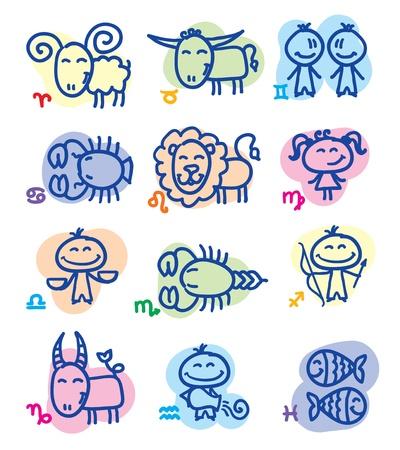 sagitario: dibujados a mano los signos del zodiaco