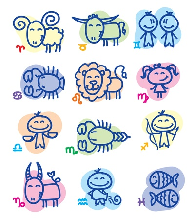 zodiac signs: hand drawn zodiac signs Illustration