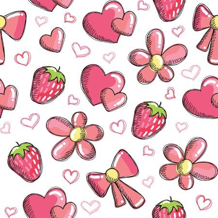 cartoon strawberry: romantic pattern Illustration