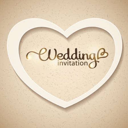 paper cut out: wedding invitation Illustration