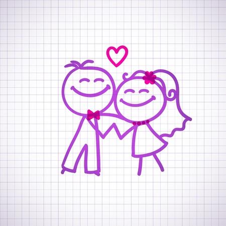 boda pareja Ilustración de vector