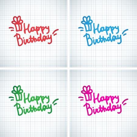 happy birthday, handwriting lettering Stock Vector - 21006160