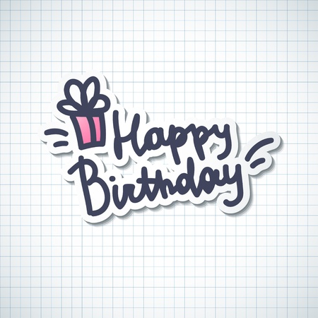 text pink: happy birthday, handwriting lettering