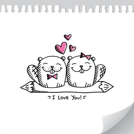 Hochzeitseinladung mit zwei Hand gezeichnetem Biber Standard-Bild - 21006210