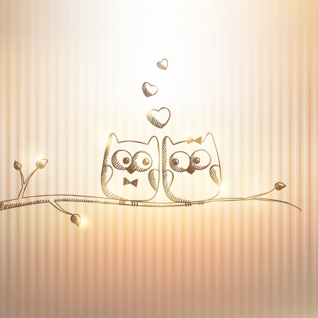 hand drawn owls on gold background Vector