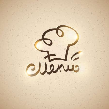 handwrite: handwrite menu lettering and hand drawn cooks cap Illustration