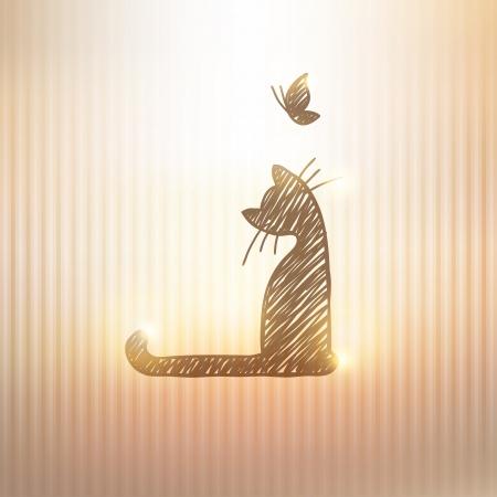 silueta de gato: dibujado a mano la tarjeta con el gato y la mariposa sobre fondo de oro Vectores