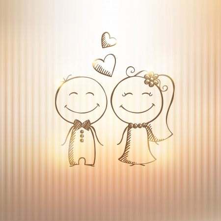 hand drawn wedding couple on gold background Stock Vector - 21171612