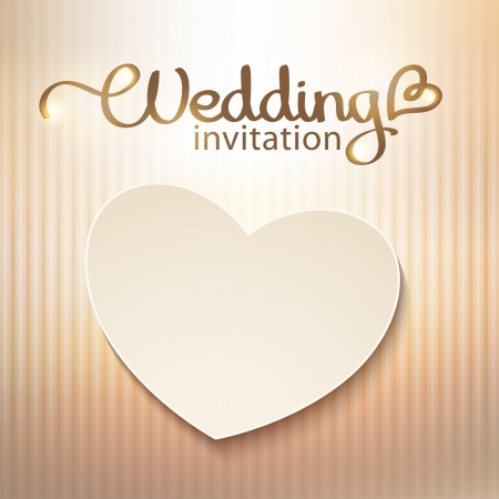 handwrite: wedding invitation with paper heart and gold background Illustration