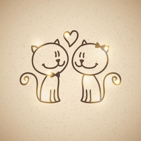 wedding invitatiom with two hand drawn cats Vector