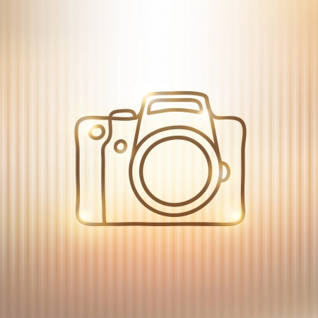 reflex: hand drawn photo camera on gold background Illustration