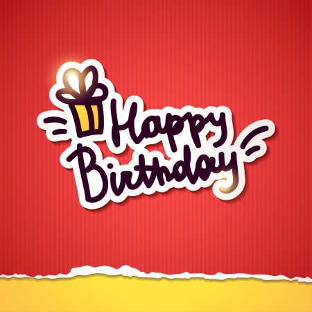 congratulation card: happy birthday, handwriting lettering