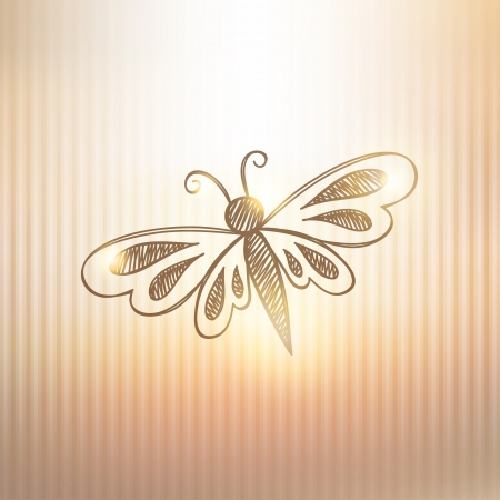hand drawn butterfly on gold background Stock Vector - 21171862