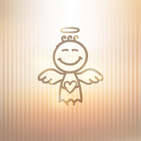 hand drawn angel on gold background Vector