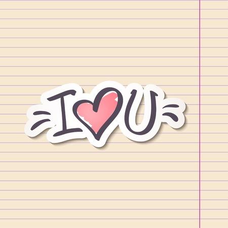 i love u: i love you, handwritten abbreviated text with heart shape