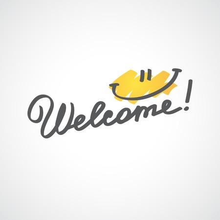 welcome smile: welcome, handwriting phrase Stock Photo