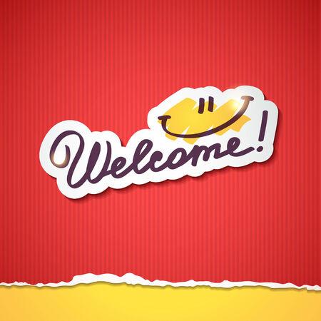 welcome, handwriting phrase Stock Photo