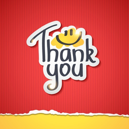 torned: Thank You text on paper sticker Stock Photo