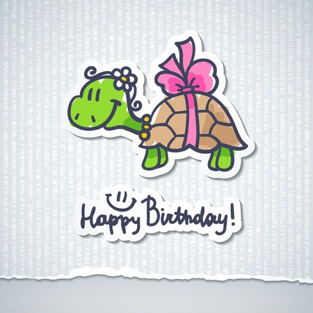 birthday card with cartoon turtle and bow Stock Photo - 26481112