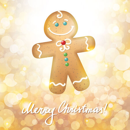 christmas card with a gingerbread on gold background photo