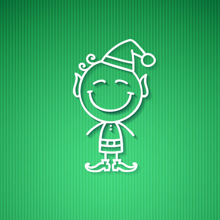pompon: christmas card with hand drawn elf