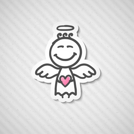 hand drawn angel with heart, illustration illustration