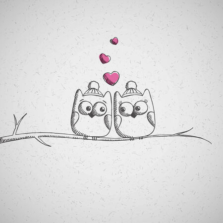 love birds: christmas card with hand drawn owls Stock Photo