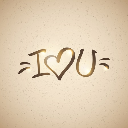 i love you, handwritten abbreviated text with heart shape photo