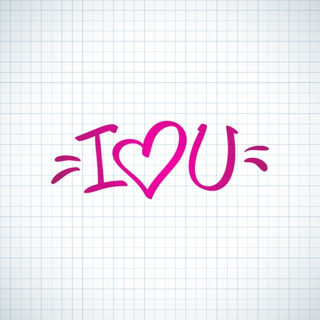 abbreviated: i love you, handwritten abbreviated text with heart shape