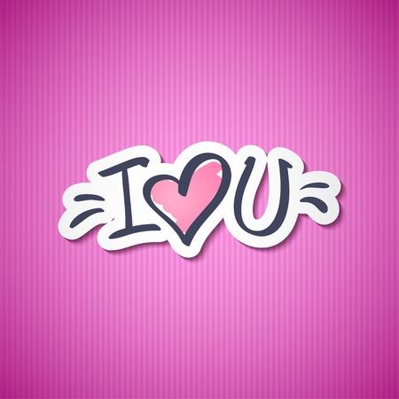 marker pen: i love you, handwritten abbreviated text with heart shape