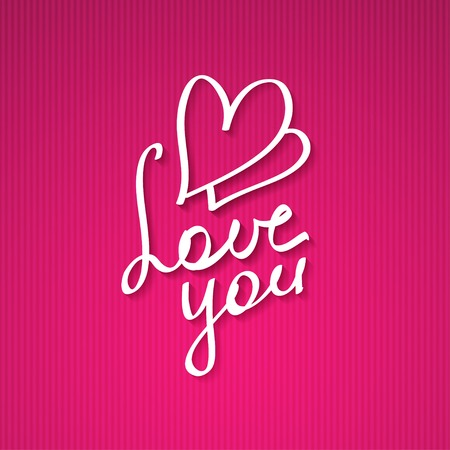 two hearts: love you, hanwritten text Stock Photo