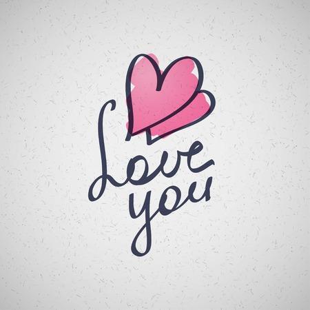 handwrite: love you, vector hanwritten text