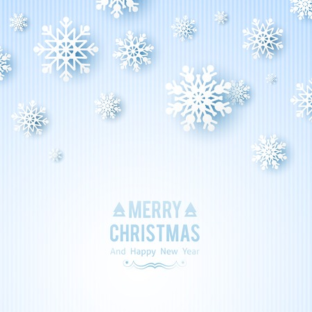 christmas background with paper snowflakes photo