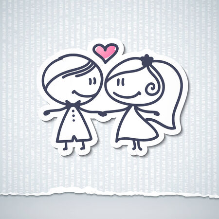 hand drawn wedding couple photo