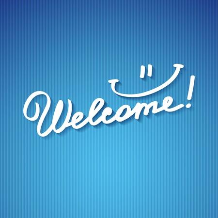 handwrite: welcome, handwriting phras Stock Photo