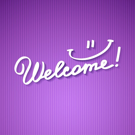 clipped: welcome, handwriting phrase Stock Photo