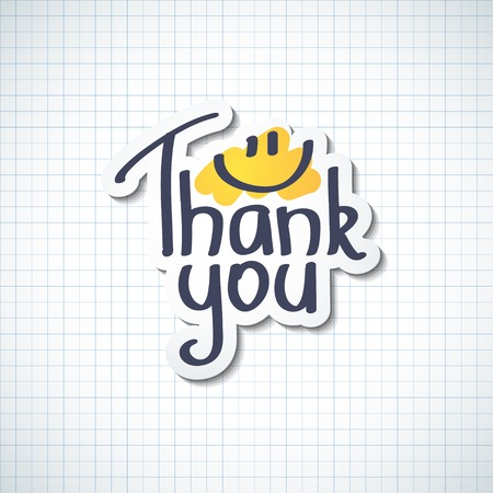 handwrite: Thank You inscription, hand drawn illustration