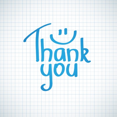 blue you: Thank You inscription, hand drawn illustration