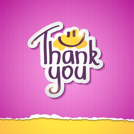Thank You text on paper sticker, illustration illustration