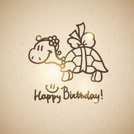 birthday card with cartoon turtle and bow photo