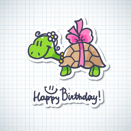 birthday card with cartoon turtle and bow Stock Photo - 26482011