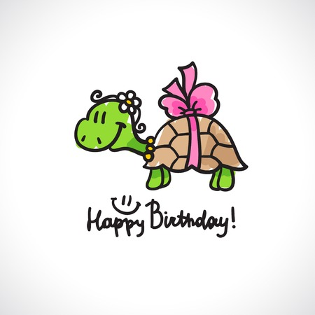 handwrite: birthday card with cartoon turtle and bow Stock Photo