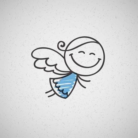 kerstkaart met de hand getekende engel