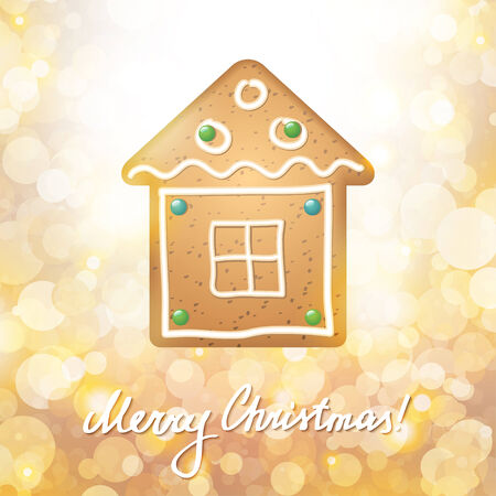 spice cake: christmas card with a gingerbread on gold background