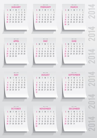 calendar grid of 2014 year on realistic paper stickers Stock Photo - 26482206
