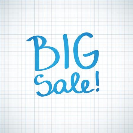 big sale, handwritten text