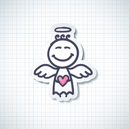 hand drawn angel with heart, vector illustration illustration